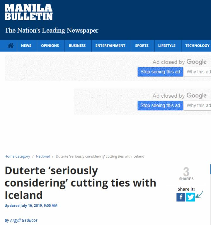 """菲律宾总统发言人:杜特尔特正""""认真考虑""""与冰岛断交"""
