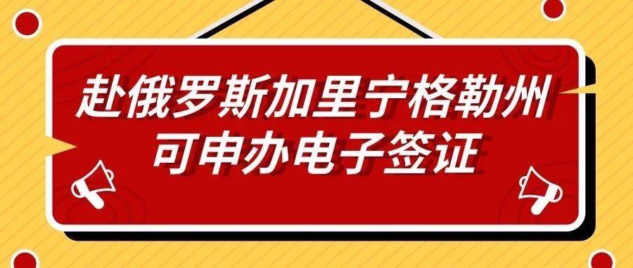 中国公民赴俄罗斯加里宁格勒州可申办电子签证