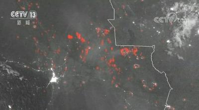 亚马孙雨林大火持续燃烧 卫星图像显示地区上空大量浓烟