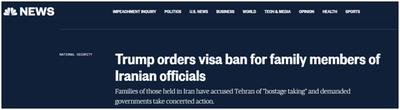 特朗普发布签证禁令:禁止伊朗高级政府官员及其亲属入境美国