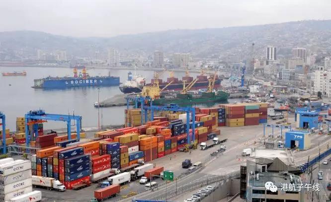 智利港口受到工人罢工的影响