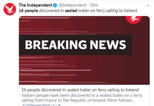 又一起!从法国到爱尔兰的渡轮密封拖车中发现16人