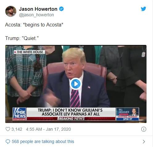 CNN记者白宫发布会上欲插话,遭特朗普斥责:安静点