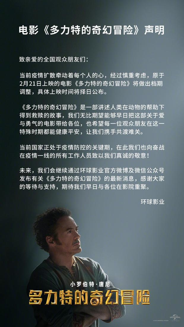 唐尼《多力特的奇幻冒险》中国撤档