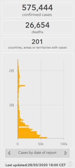 美国单日新增超2万 全球累计确诊575444例
