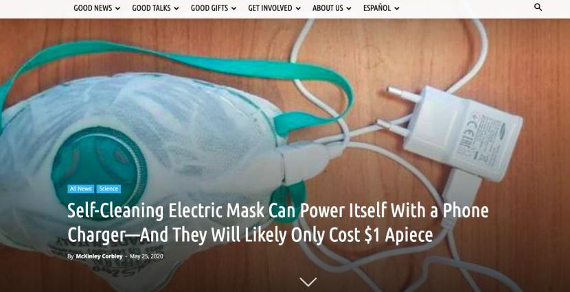 """口罩""""黑科技"""":用手机充电器就能实现加热消毒自清洁?"""