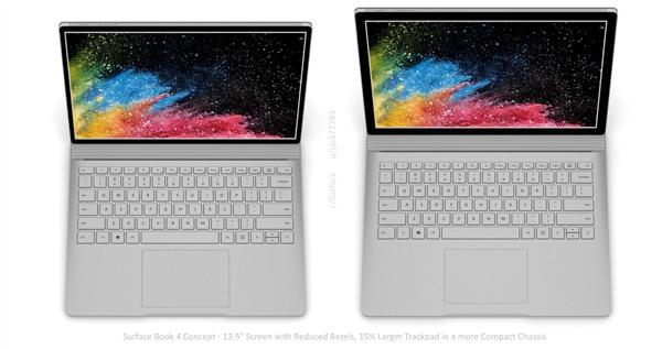 饭制Surface Book 4渲染图:窄边框+大面积触控板、颜值陡增