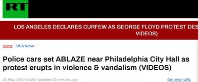 美国示威活动仍在蔓延!费城警车着火 商店遭洗劫