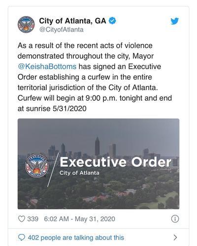 因暴力行为 美国亚特兰大市长宣布全市实施宵禁