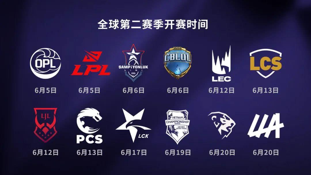 全球电竞赛事开赛时间公布:LPL、OPL和TCL将于本周末开始