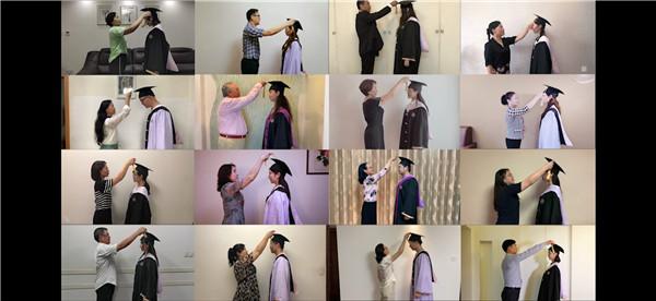 毕业季,上音学子穿上绣有自己名字的学位服云端放歌
