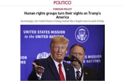 美媒:美国在人权问题上越来越被视为恶棍