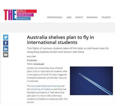 疫情触发新一轮封锁 澳大利亚两所高校暂搁接回留学生计划