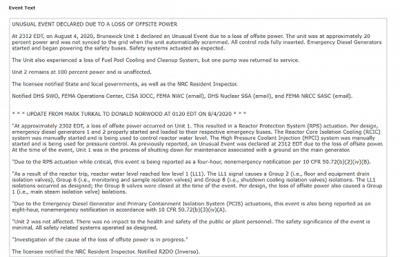 美国核管理委员会:不伦瑞克核电站1号机组出现电力异常事件,安全系统已开始运作