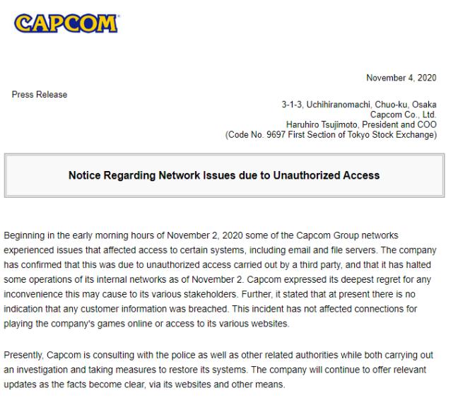 """窃取了卡普空机密文件的黑客组织,够开一场""""游戏发布会""""了"""